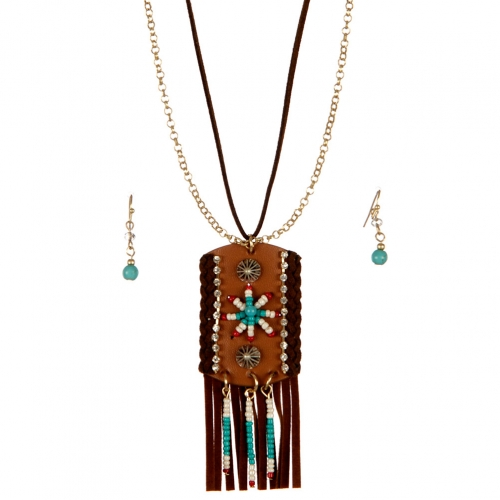 wholesale Faux suede and tribal long necklace set WTTB