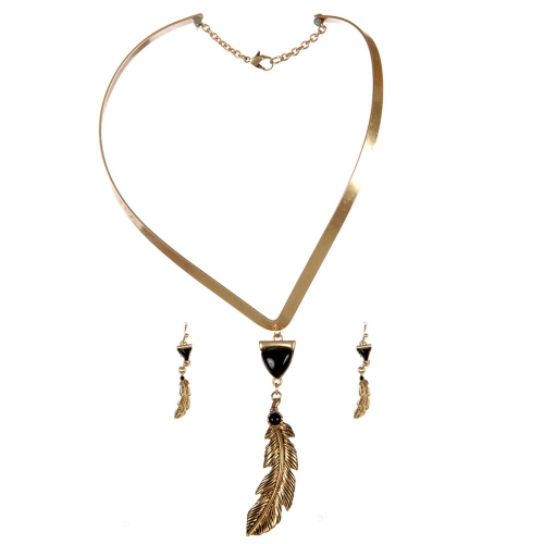 wholesale Feather drop choker necklace set WGJ