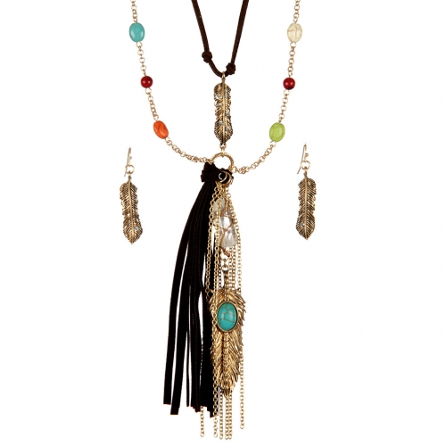 wholesale Multicolored beads and feather necklace set WGMT