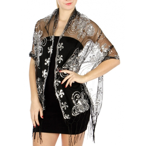 wholesale Floral sequin and embroidery on mesh scarf Black/Black