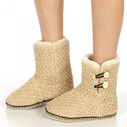 wholesale Solid knit sherpa bootie Beige fashionunic