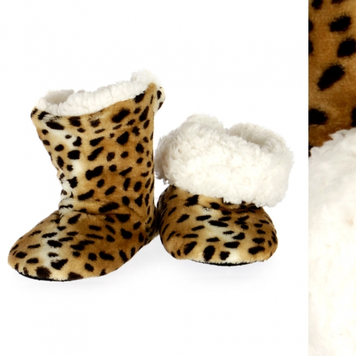 wholesale Kids plush sherpa bootie Brown/Black