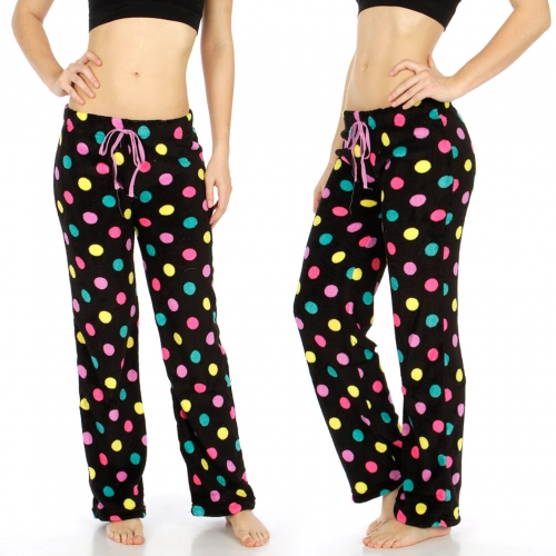 Wholesale E50 Soft plush pants Black/Multi Dots