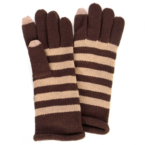 wholesale Striped colorblock gloves Black fashionunic