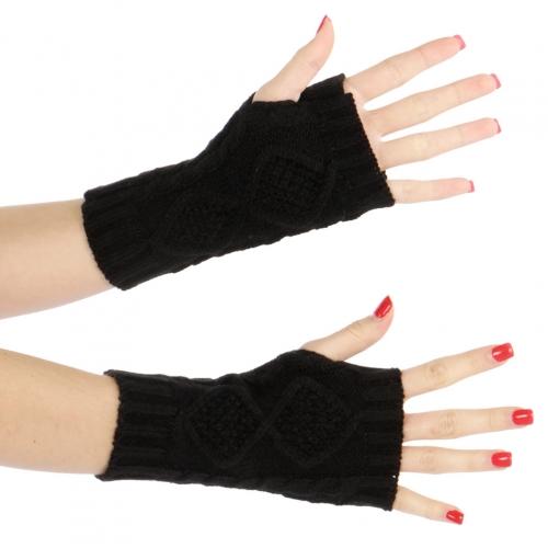 Wholesale Q10 8 pane knit arm warmers Black
