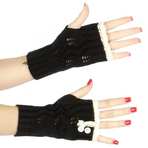 Wholesale Q51 2 botton accent knit arm warmers Black