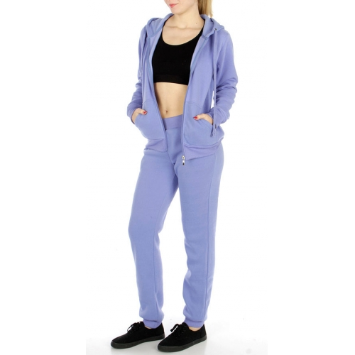 wholesale Solid fleece lined zip up hoodie and pants set
