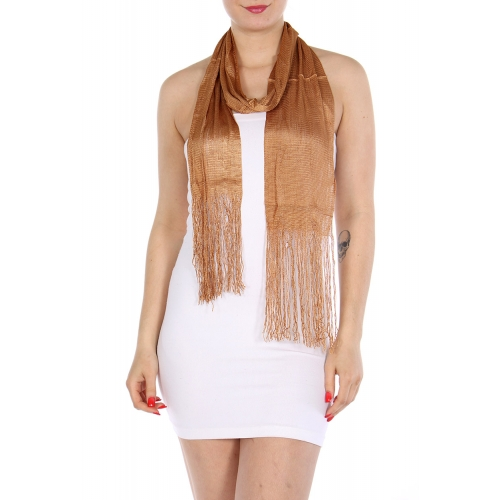 Wholesale I02 Solid long tassel scarf Beige