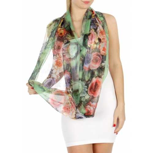 Wholesale H45 Rose garden infinity scarf Coral