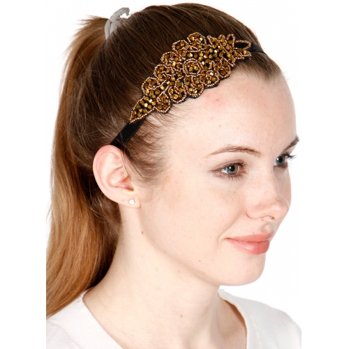 wholesale Stone studded leaf headband Gold