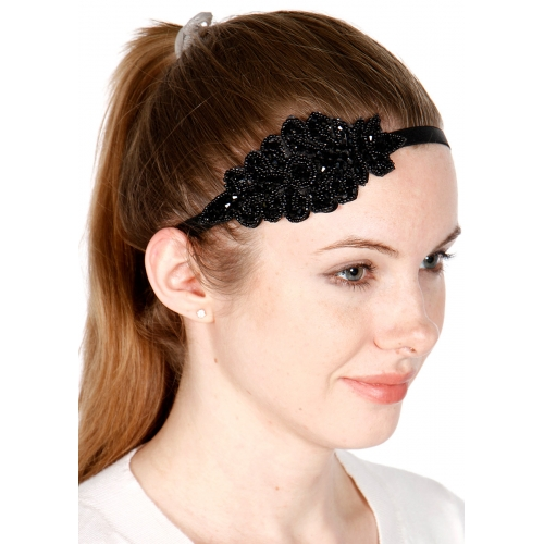wholesale Stone studded leaf headband Black