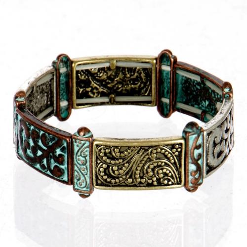 wholesale Three tone engraved stretch bracelet OG/MT