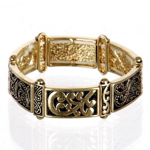 wholesale Three tone engraved stretch bracelet AG