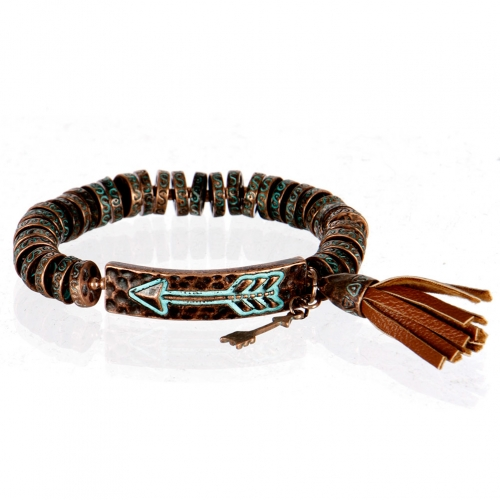 wholesale Metal arrow and tassel stretch bracelet OG/BN