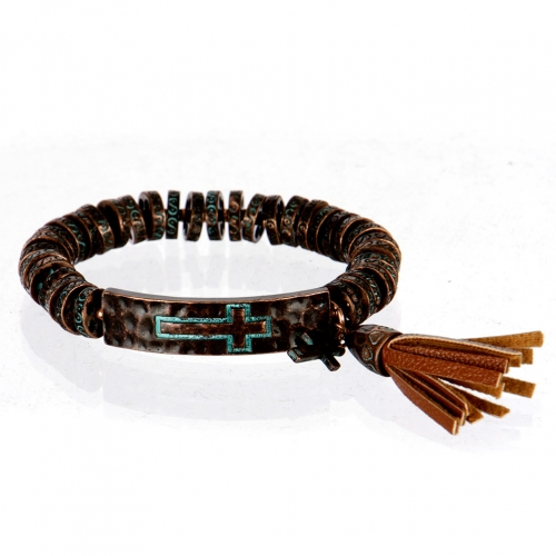 wholesale Metal cross and tassel stretch bracelet OG/BN