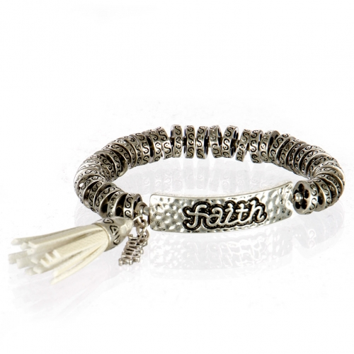 wholesale Metal faith tassel stretch bracelet SB/IV