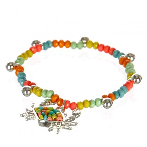 wholesale Multicolored beaded crab stretch bracelet ASM