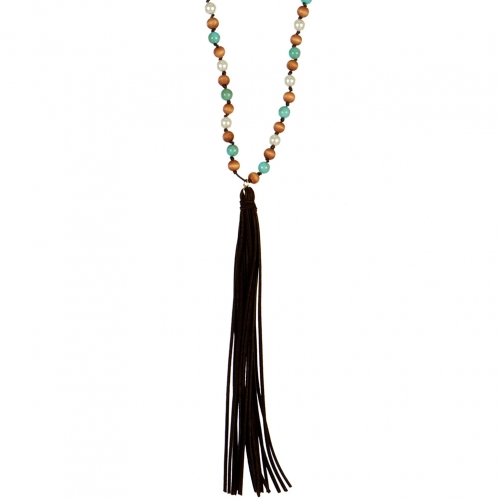 wholesale Long beaded tassel end necklace GB