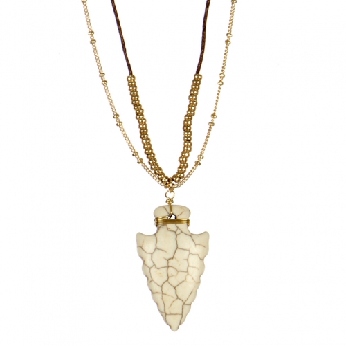 wholesale Stone arrow pendant long necklace GD WT