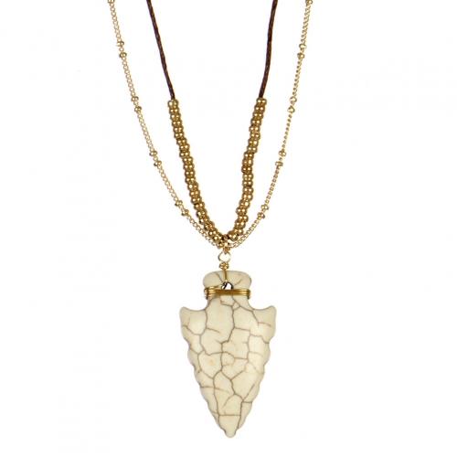 wholesale Stone arrow pendant long necklace GD WT