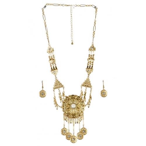wholesale Metal circles drop necklace set GD WT