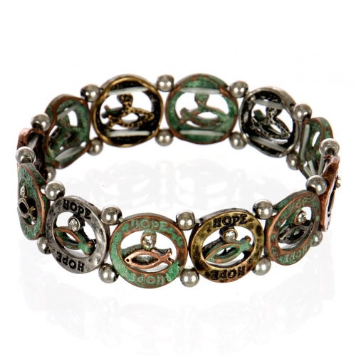 wholesale Ichthys hope metal bracelet PTMT