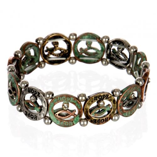 wholesale Ichthys hope metal bracelet PTMT