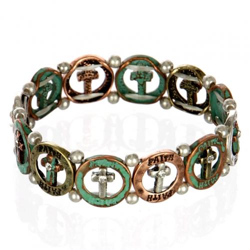 wholesale Cross faith metal bracelet PTMT