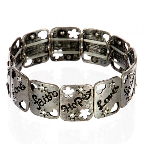 wholesale Cutout metal faith hope love bracelet SB