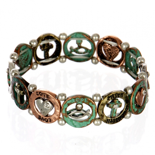 wholesale Ichthys and cross metal bracelet PTMT