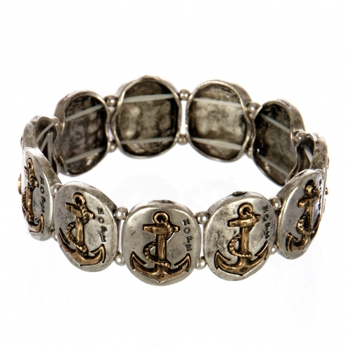 wholesale Metal anchor and hope stretch bracelet SBRG