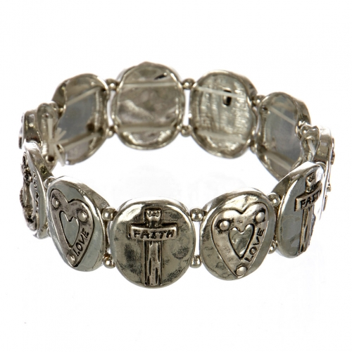 wholesale Metal faith and love stretch bracelet RHSB