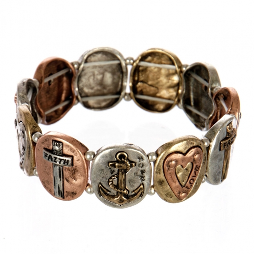 wholesale Metal faith and love stretch bracelet MTB