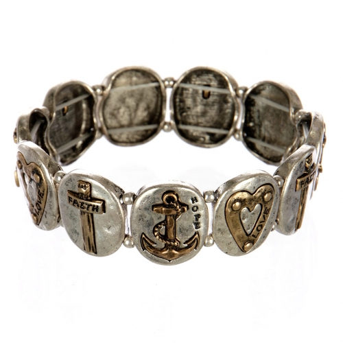 wholesale Metal faith and love stretch bracelet SBRG
