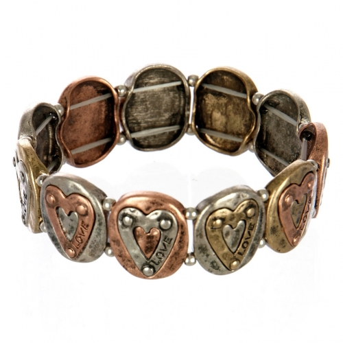 wholesale Metal heart love stretch bracelet MTB