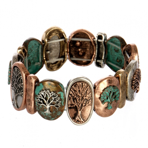 wholesale Metal tree of life stretch bracelet PTMT