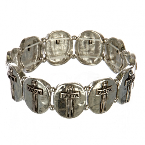wholesale Metal cross and faith stretch bracelet RHSB