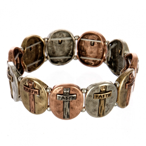 wholesale Metal cross and faith stretch bracelet MTB