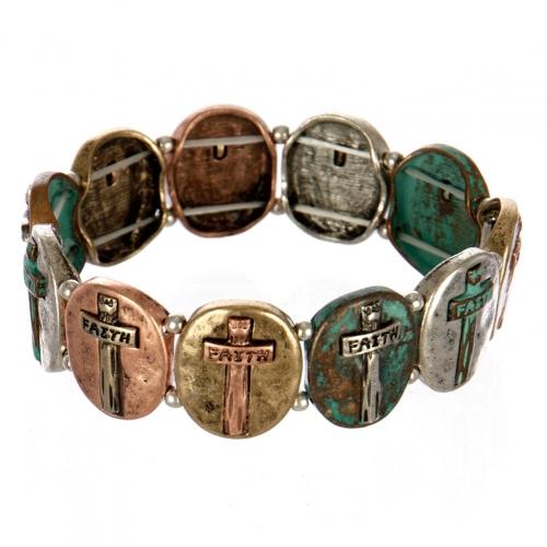 wholesale Metal cross and faith stretch bracelet PTMT