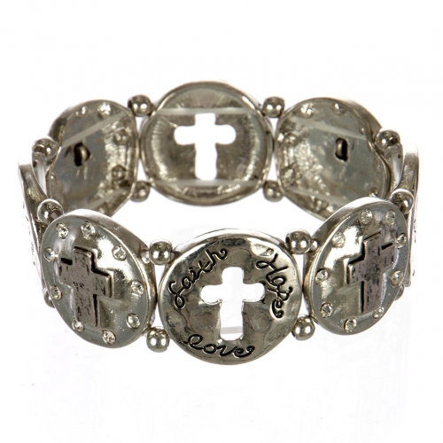 wholesale Metal cutout cross stretch bracelet RHSB