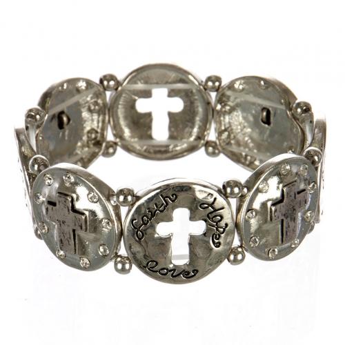 wholesale Metal cutout cross stretch bracelet RHSB