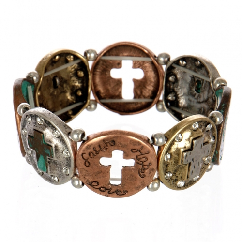 wholesale Metal cutout cross stretch bracelet PTMT