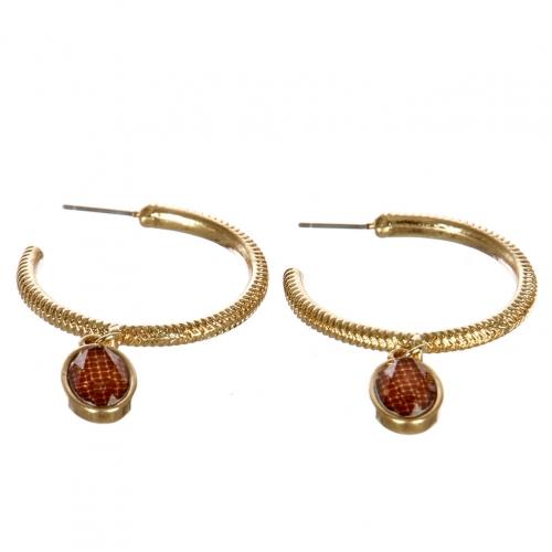 wholesale Metal hoop earrings with stone WGBR