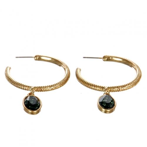 wholesale Metal hoop earrings with stone WGGRN
