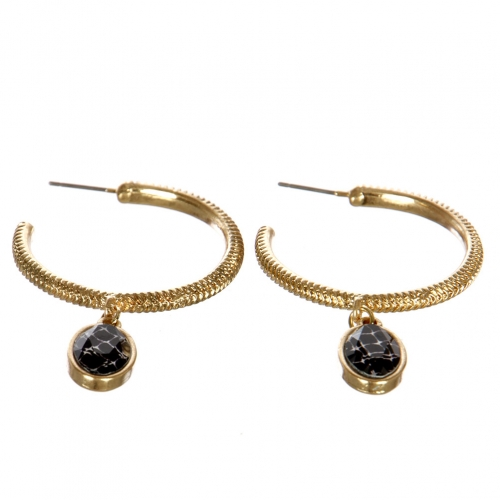 wholesale Metal hoop earrings with stone WGBLK