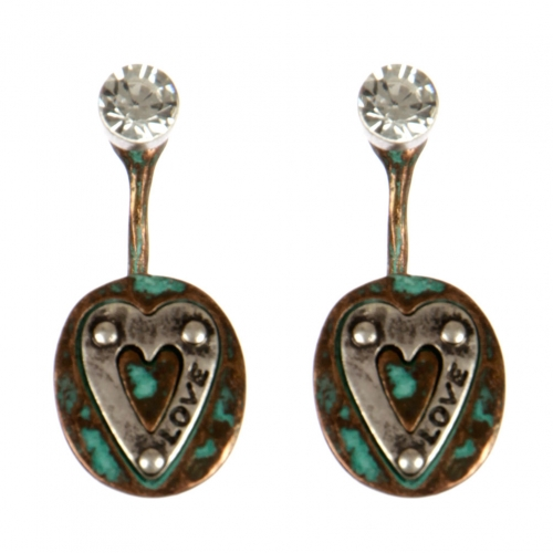 wholesale Metal love and stud front earrings PTS