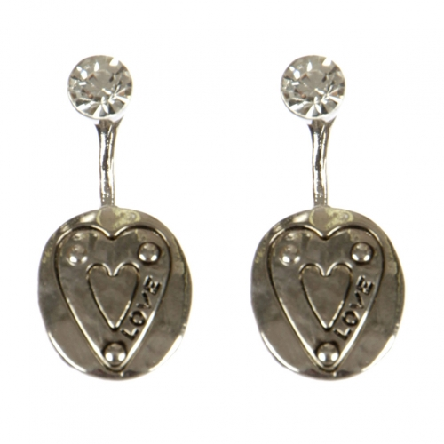wholesale Metal love and stud front earrings RH