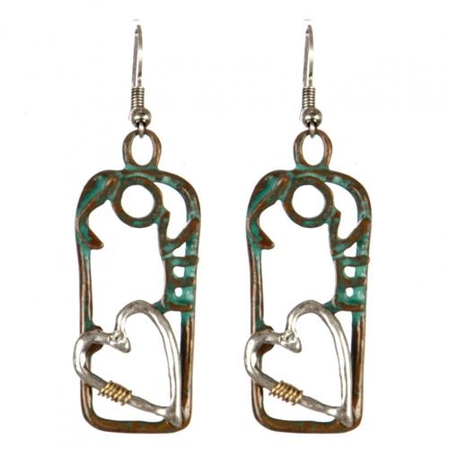 wholesale Metal cutout love dangling earrings PTS