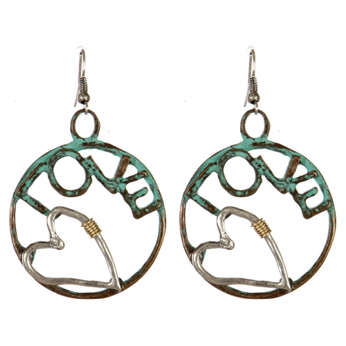 wholesale Metal cutout circle love dangling earrings PTS