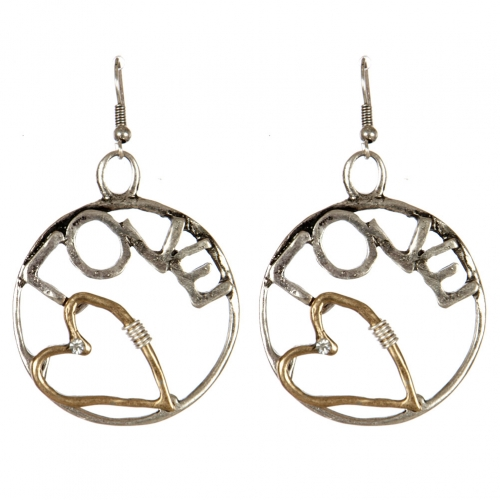 wholesale Metal cutout circle love dangling earrings SBG